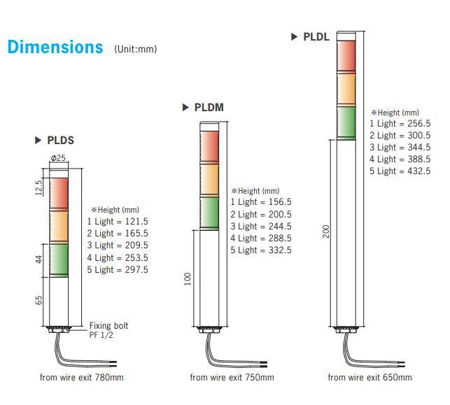 kích thước đèn tháp Autonics PLD Series