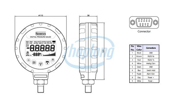 Kích thước Đồng hồ đo áp suất SBP Sensys