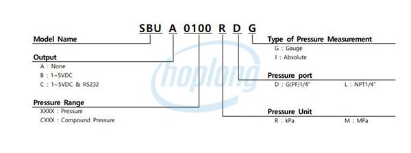 Sơ đồ chọn mã Đồng hồ đo áp suất SBU Sensys